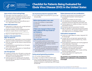 Checklist for Patients Being Evaluated for Ebola Virus Disease (EVD) in the United States